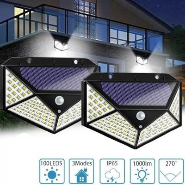 Set 2 x Lampa Solara 100 Led cu senzor de miscare