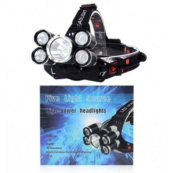 Lanterna frontala cu 5 led-uri, rezistenta la apa, reincarcabila