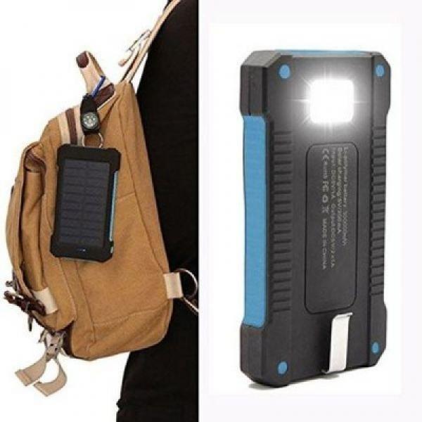 Baterie solara 10000 mah, 2 USB, cu lanterna led si busola