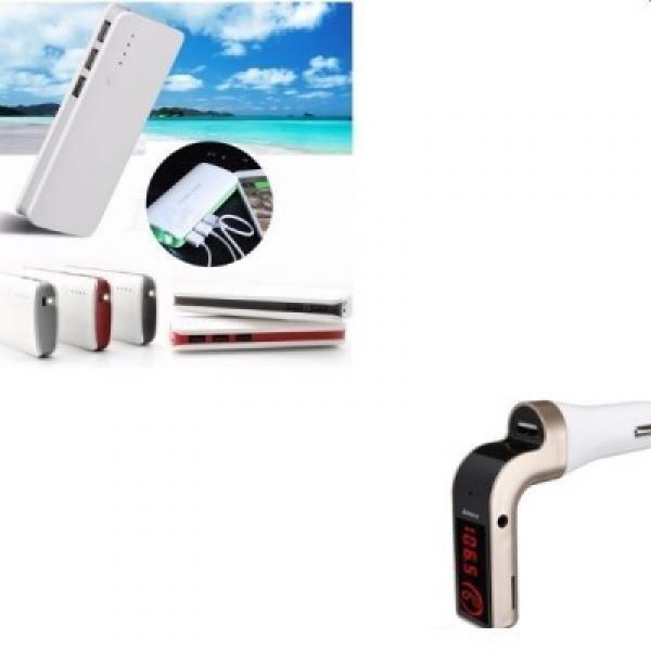 Pachet: Baterie externa 20000 mah cu 3 USB + Modulator auto FM bluetooth