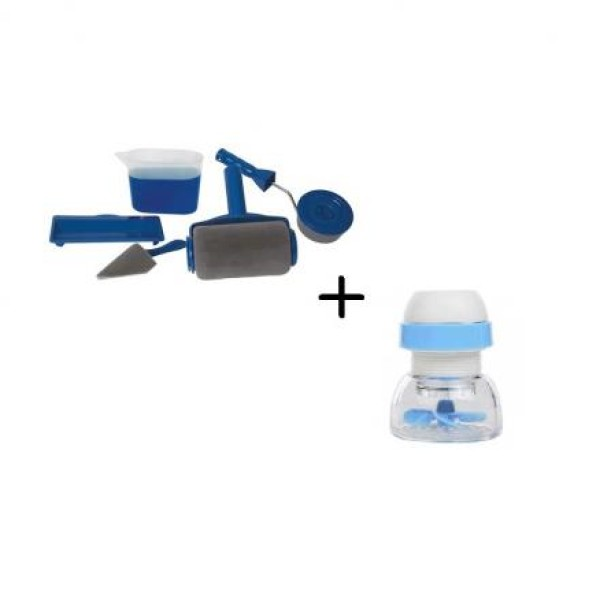 Trafalet cu rezervor, spatula pentru colturi, rola mica si tavita suport + Cap flexibil antistropire pentru robinet