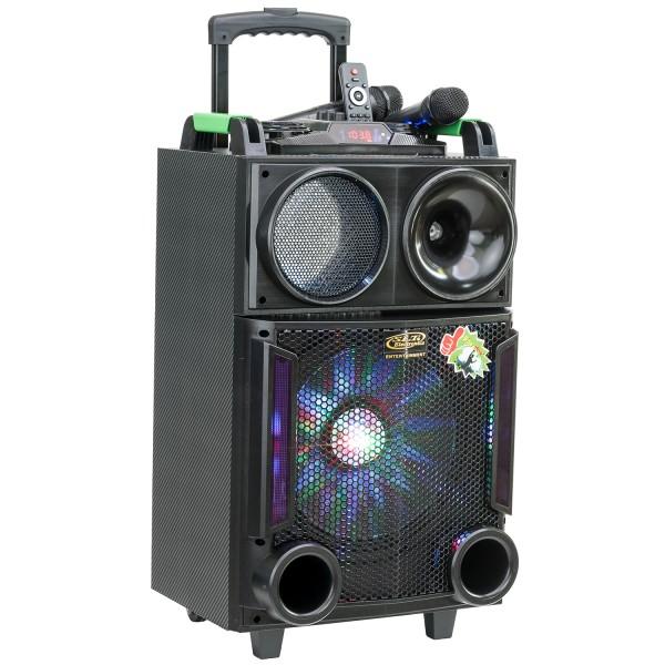 RESIGILAT - Boxa Activa Portabila Troller 12inch, Soundvox MT-1705, cu 2 x Microfoane, 150 W, Functie REC, Bluetooth, Di