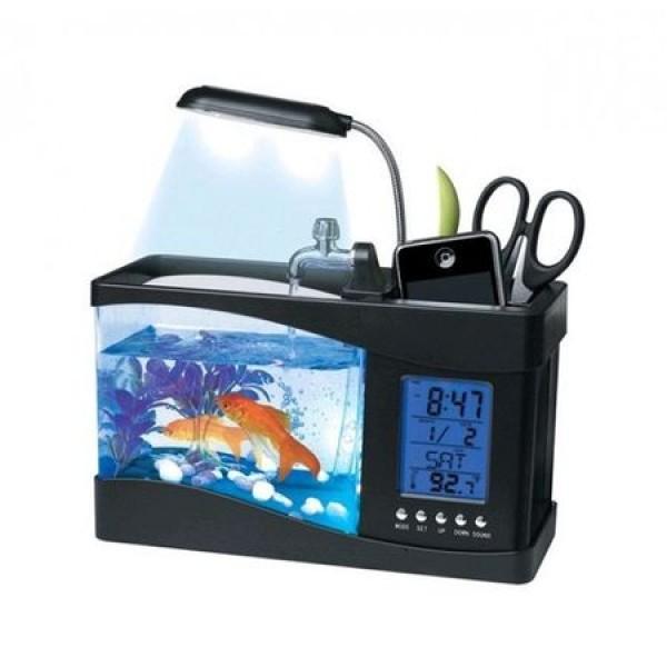 Acvariu de Birou cu LCD, Pompa Apa, Statie Meteo, Lampa, 6 sunete, Negru