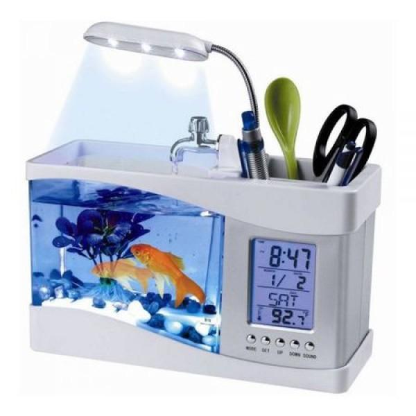 Acvariu de Birou cu LCD, Pompa Apa, Statie Meteo, Lampa, 6 sunete, Alb
