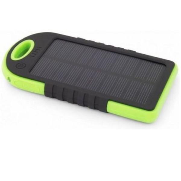 Pachet promotional 3 produse Baterie externa solara Soundvox, 5000 mAh, shockproof, Negru-Verde, Suport universal telefo