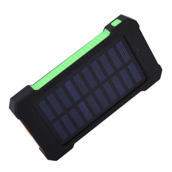 Pachet promotional 3 produse, Acumulator Extern 10000 mAh, cu Incarcare Solara, 2 USB, Lanterna LED cu Mod SOS, Negru-Ve