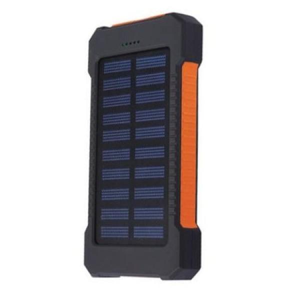 Pachet promotional 3 produse, Acumulator Extern 10000 mAh, cu Incarcare Solara, 2 USB, Lanterna LED cu Mod SOS, Negru-Po