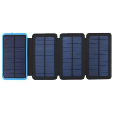 Pachet promotional 3 produse, Acumulator Extern 10000 mAh, cu Incarcare Solara cu 4 Panouri, 2 USB, Lanterna LED, Negru-