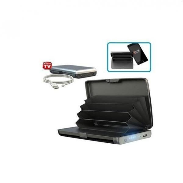 Portofel carduri anti furt si anti scanare, cu baterie externa integrata