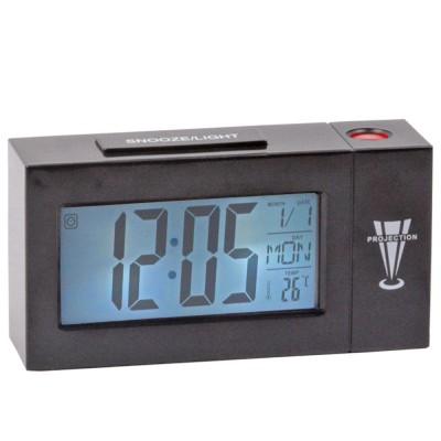 Ceas cu Proiectie, cu Alarma si Termometru Digital DS-618, Functii Snooze si Voice Control, Negru