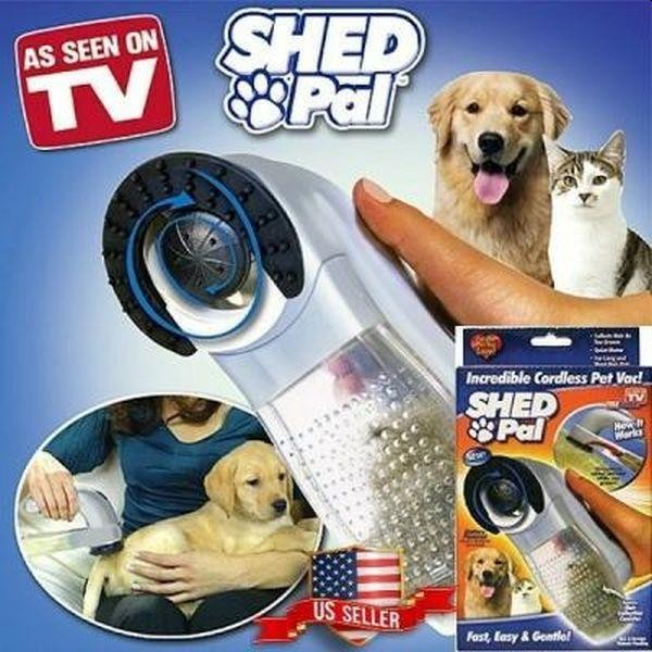 Perie Shed Pal pentru par de animale, cu vacuum si functie de masaj.